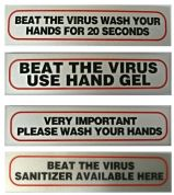 Beat the Virus Stick on Signs 17cm x 4cm choice of 4